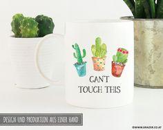 Becher & Tassen - Tasse   Can't touch this, Kaktus - ein Designerstück von Dr_Grazer_und_Co bei DaWanda Designer, Etsy, Mugs, Tableware, Tumbler Cups, Cactus, Dinnerware, Tumblers, Tablewares