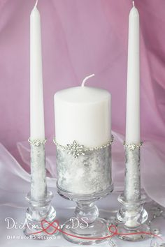 Winter wedding  unity candle, personalized snowflake, votive candles, silver wedding, luxury traditional, wedding pillar candles, 3pcs