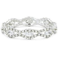 Vieste Rhinestone Silver-Tone Stretch Bracelet, White (One Size) -... ($15) ❤ liked on Polyvore featuring jewelry, bracelets, white bangle, rhinestone bangles, silver tone jewelry, white jewelry and rhinestone jewelry