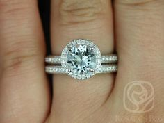 Ellen 8mm 14kt White Gold Round Aquamarine and Diamonds Pave Halo Wedding Set (Other metals and stone options available)