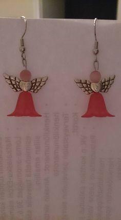 Pink flower dress Angel earrings