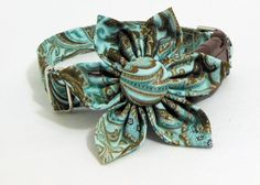 Dog Collar Flower Set  Paisley Made to order by JinsK9Kreations, $28.00