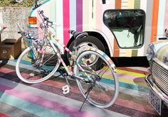 digging this bike covered in colorful masking tape.