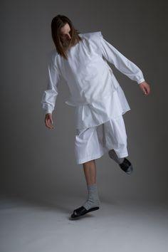 Hed Mayner Men's Tzitzit Shirt and Pleated Shorts. Vintage Venus et Jules tunic. Designer Clothing Dark Minimal Street Style Fashion