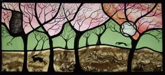 Stained Glass panel - Greyhounds in the woods