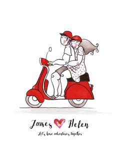 Vespa Lovers - Personalized names and quote art print - Handmade tandem illustration - Romantic couple adventure art - custom print. #vespa #lovers #customprint #norygloryprints #etsy #wallart #illustration #handmade #adventure #poster #print #artwork