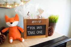 The fox says...take a favor at a woodland critter first birthday I Custom tag by Nico and Lala