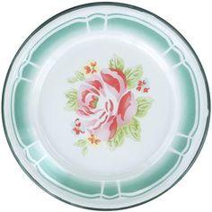 English Rose Placement Enamel Plate