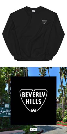 the BEVERLY HILLS SIGN design is embroidered on a cotton, polyester blend sweatshirt and can be found at the KIKICUTT sweatshirt shop. Beverly Hills Sign, The Beverly, Embroidered Sweatshirts, Crew Sweatshirts, Sign Design, Streetwear, Unisex, Hats, Sweaters