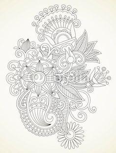 hand draw abstract henna flower design element