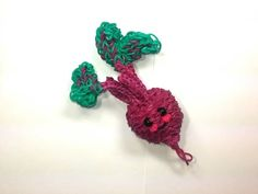 Rainbow Loom - 3D Happy BEET Charm. Designed and loomed by Ellen Carpenter at feelinspiffy. Click photo for YouTube Tutorial. 08/30/14.