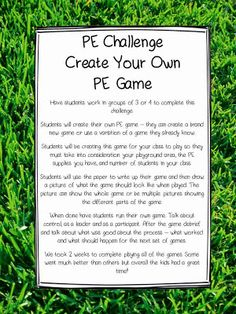 PE Challenge Create Your Own PE Game - Education Job - Ideas of Education Job - The Picture Book Teacher's Edition: PE Challenge Create Your Own PE Game I've done this with middle school but like the idea of doing it with elementary too. Physical Education Activities, Elementary Physical Education, Health And Physical Education, Pe Activities, Baby Education, Educational Activities, Educational Websites, Special Education, Science Education