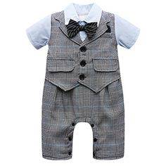 5eed38672ab1 Amazon.com  Baby Boy Short Sleeve With Bowtie Checked Gentleman Romper  Toddler Outfit Clothing Set 1pcs Jumpsuit  Clothing