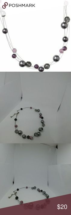 LIA SOPHIA Bead Cluster Necklace Lia Sophia Bead Cluster Necklace Choker Style necklace Gray, Pink, and Plum beads Measures 10 inches overall length with adjustable neck clasp Excellent condition  (Stock photo courtesy of Lia Sophia) Lia Sophia Jewelry Necklaces