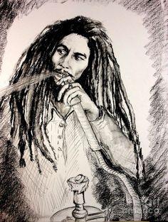 Bob Marley smoking hookah.