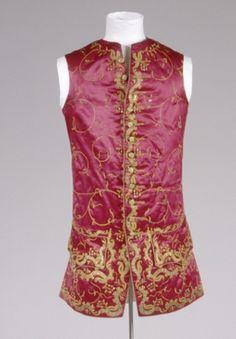 Sleeveless Waistcoat, 1750, Germany, Cotton, linen, silk.  Front: silk, red, brown, orange, satin weave; Back: linen, red; plain weave lining. Embroidery: metallic thread, gold, silk, yellow. GERMANISCHES NATIONALMUSEUM | Nürnberg