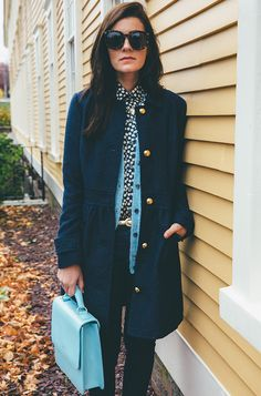 Classy Girls Wear Pearls styling Oak73's Blue Lace Satchel and Ikat Silk Shirt. www.oak73.com