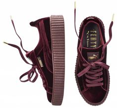42a6c2ea6a7 Creepers bordeaux Fenty Rihanna by Puma - It pièce   les Creepers velours  de Fenty Puma by Rihanna - Elle. Chaussures RihannaChaussure Puma  FemmeChaussure ...