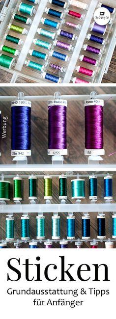 {Anzeige} Grundausstattung Stickmaschine: Das brauchst du zum perfekten Stick-Start #sticken #nähen Diy Mode, Diy Upcycling, Making Ideas, Diy And Crafts, Freebies, German, Blog, Crafting, Inspiration