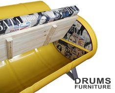 36 creative oil drum furniture ideas for your home interiors Barrel Furniture, Metal Furniture, Diy Furniture, Furniture Design, Modern Furniture, Automotive Furniture, Automotive Decor, Drum Seat, Drum Chair
