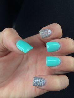 Teal acrylic nails #pretty #summer