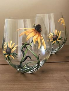 Discover thousands of images about Wildflowers Hand Painted Stemless Wine Glasses Prairie Flowers Lily Thistle Coneflower Queen Anne La Decorated Wine Glasses, Hand Painted Wine Glasses, Painting On Wine Glasses, Decorated Bottles, Wine Glass Crafts, Wine Bottle Crafts, Bottle Painting, Bottle Art, Painting On Glass