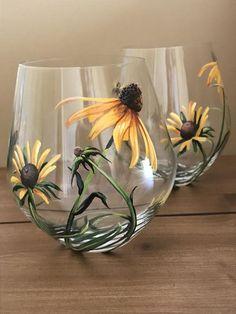 Verres à vin sans Prairie fleurs Lily chardon échinacée | Etsy