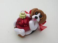Beagle Dog Christmas Ornament Polymer Clay by HeartOfClayGirl, .