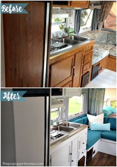 Cassie used Nuvo cabinet paint to breathe new life into her tired oak camper cabinets.  Isn't this camper remodel just a breath of fresh air?