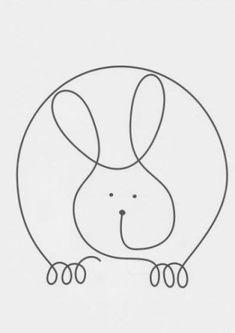 Continuous Line Rabbit Machine Quilting Patterns, Quilting Templates, Quilting Designs, Quilt Patterns, Single Line Drawing, Continuous Line Drawing, Drawing For Kids, Art For Kids, Line Doodles