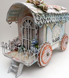 wagon by Solange Marques using Graphic 45 Baby 2 Bride collection .