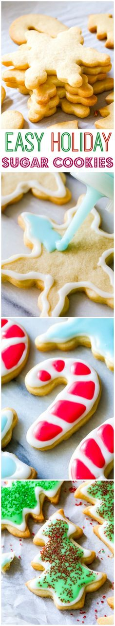 Cut-out holiday sugar cookies with crisp edges and soft centers. My icing recipe is so simple, making decorating hassle-free!