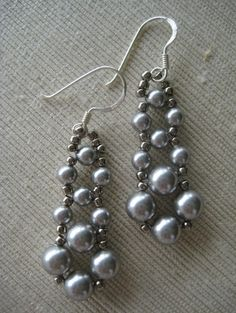 Handmaiden Cristel Earrings - Silver Swarovski Pearls,Silver seed beads and Sterling Silver