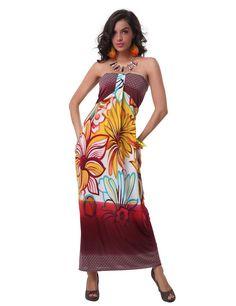 Charming Design Halter Neck Tiny Floral Print Bohemian Maxi Dress For Women