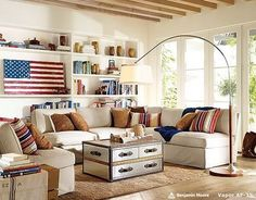 my dream for my Americana family room - with denim covered couches and a little more color on the walls. :)