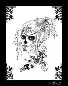 mexican skull women art | Sugar Skull girl 2 by annaluci on deviantART