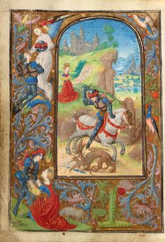 Saint George and the Dragon; Lieven van Lathem (Flemish, about 1430 - 1493); Ghent (written), Belgium; about 1471; Tempera colors, gold leaf, gold paint, silver paint, and ink on parchment; Leaf: 12.4 x 9.2 cm (4 7/8 x 3 5/8 in.); Ms. 37, fol. 67v; J. Paul Getty Museum, Los Angeles, California