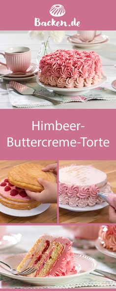 Himbeer-Buttercreme-Torte Our raspberry butter cream cake is a real eye-catcher. With its pink topping, this cake steals the show from any other pastries on your coffee table! Meat Recipes, Cake Recipes, Dessert Recipes, Lemon Buttercream Frosting, Torte Recipe, Brownie Cheesecake, Sweet 16 Parties, Italian Desserts, Food Cakes