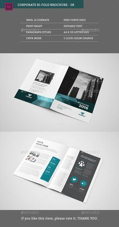 Corporate Bifold Brochure Template InDesign INDD. Download here: http://graphicriver.net/item/corporate-bifold-08/16020730?ref=ksioks