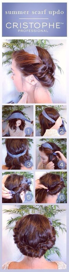 hairstyles beach 23 Five-Minute Hairstyles For Busy Mornings Cute Summer Hairstyles : Scarf Updo Pictorial ! Five Minute Hairstyles, Summer Hairstyles, Up Hairstyles, Pretty Hairstyles, Hairstyle Ideas, Hairstyle Tutorials, Hair Ideas, Bun Tutorials, Simple Hairstyles