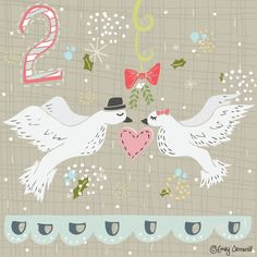 Second Day Of Christmas- Two Turtle Doves Illustration by Emily Cromwell