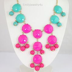 NEW Turquosie Hot Pink  Bubble NecklaceHandmade by Emilyjewelry4u, $17.00