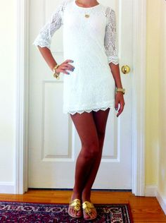 White lace mini dress.  So cute for rehearsal dinner