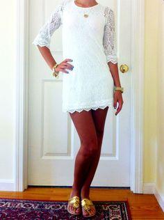 White lace mini dress.  So cute for rehearsal dinner