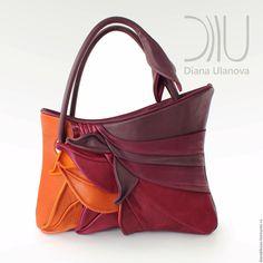 Купить в наличии Сумка кожаная Перья - комбинированный, абстрактный, бежевая сумка, какао, молочный шоколад