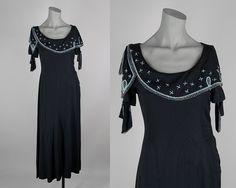 Vintage 1920s Dress / 1930s Art Deco  Black Beaded Asymmetrical Capelet Dress S