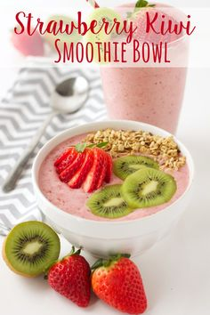 Strawberry Kiwi Smoothie Bowl recipe from thebusybaker.ca!