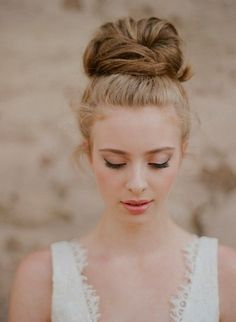 Top knot / high bun #wedding #hair #romantic