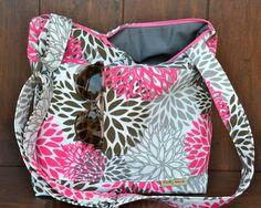 Camera Bag SLR / Bright pink and Greyl /  Digital Camera Bag  Dslr / womens camera purse / diaper bag / Padded  Insert / by Darby Mack on Etsy, $99.00