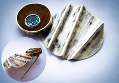 Sucupira and aquamarine fold-forming brooch